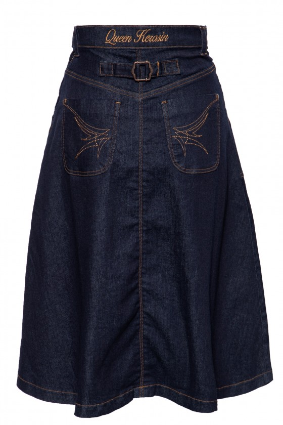 ELASTIC DENIM SWING SKIRT (denim)