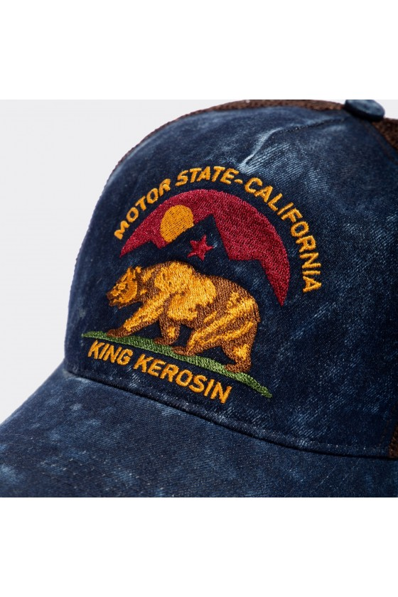 TRUCKER CAP IN THE USED LOOK MOTOR STATE CALIFORNIA (blue)