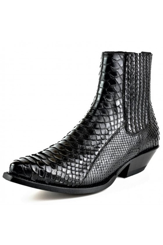 PYTHON LEATHER ANKLE BOOTS HARRIER M-50 (black)