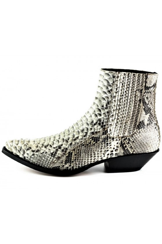 PYTHON LEATHER ANKLE BOOTS HARRIER M-50 (white)