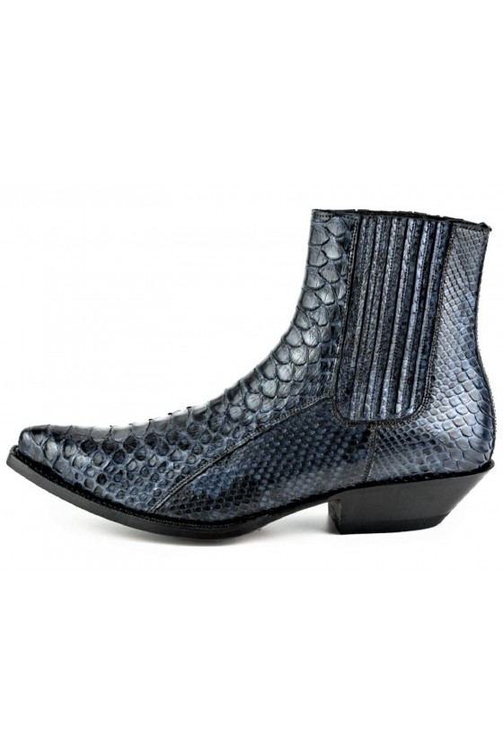 PYTHON LEATHER ANKLE BOOTS...