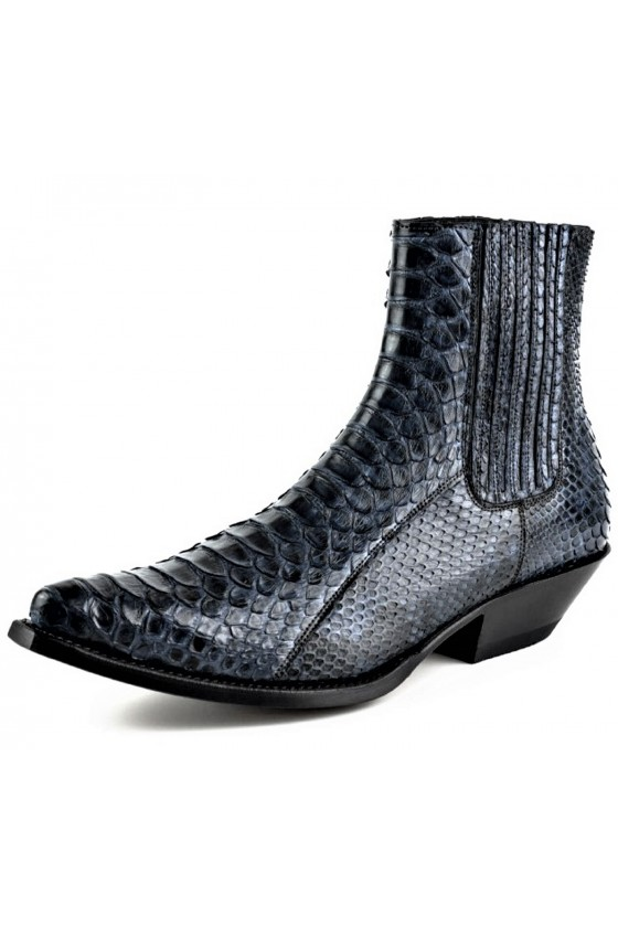 PYTHON LEATHER ANKLE BOOTS HARRIER M-50 (blue)