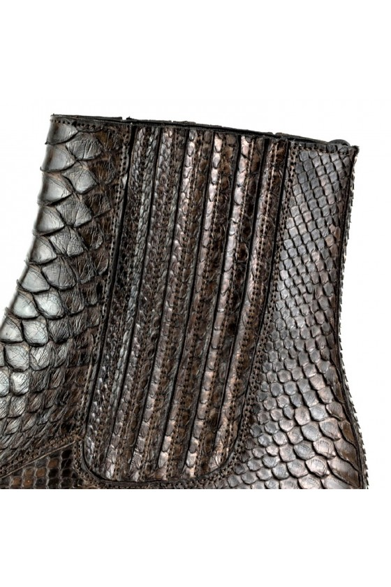 PYTHON LEATHER ANKLE BOOTS HARRIER M-50 (brown)