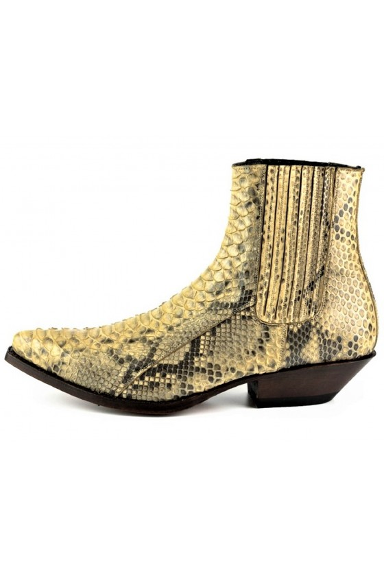 PYTHON LEATHER ANKLE BOOTS HARRIER M-50 (camel)