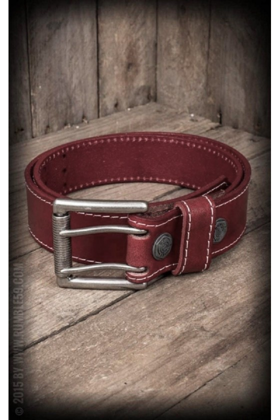 LEATHER BELT WITH DOUBLE-BAR BUCKLE (red)