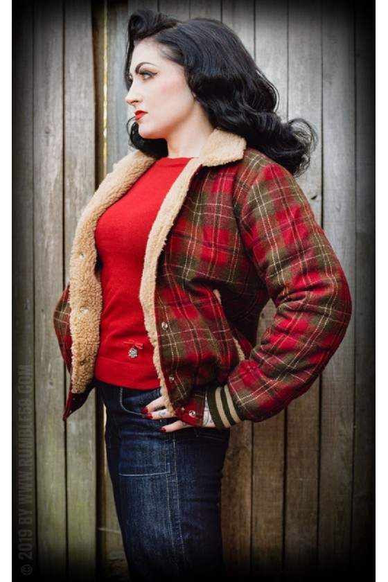 CHECKERED JACKET WITH TEDDY LINING (red)