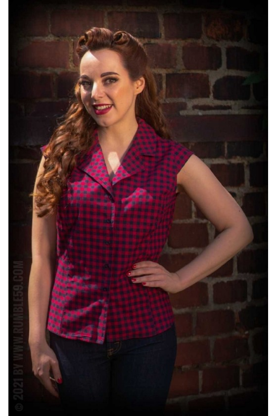 SHORT-SLEEVED BLOUSE CHARMING CHECK (red)