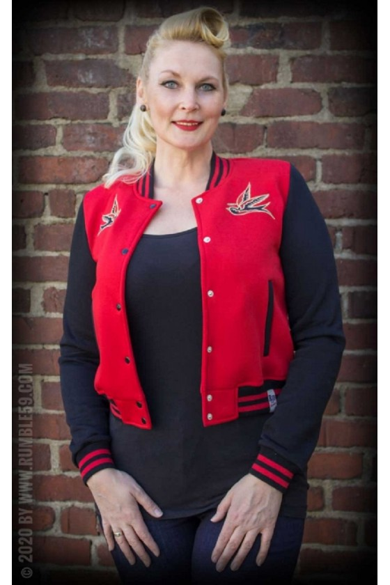 COLLEGE SWEAT JACKET GOOD OR BAD (red)