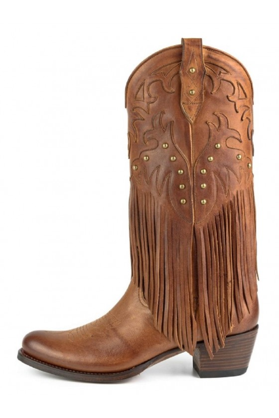 WOMEN'S BOOTS WITH FRIDGES 2475 (fedo brown)