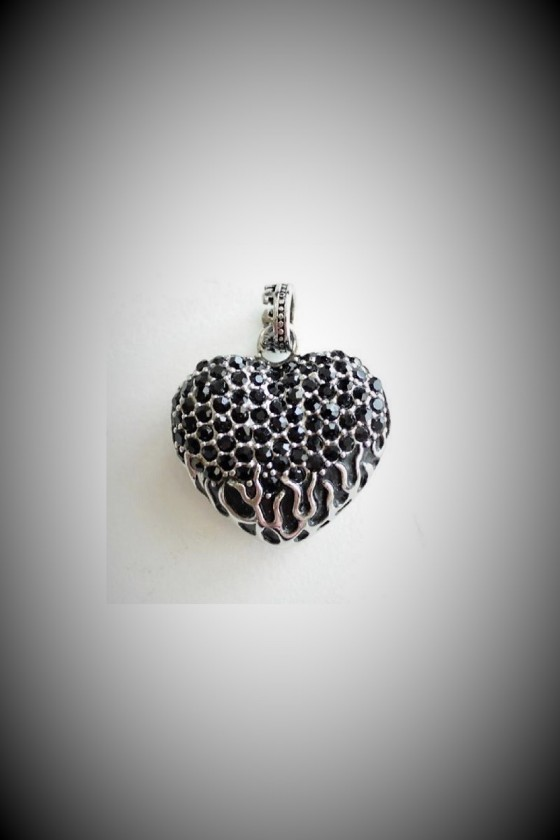 Heart Pendant with Black...